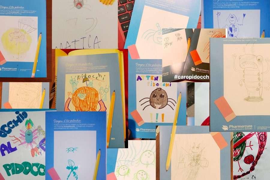 Alcuni disegni dei bambini che hanno partecipato alla campagna contro i pidocchi nelle scuole.